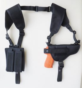 Shoulder Holster for Glock 17, 20, 21, 22, 31,37, Dbl Mag Pouch Horizontal Carry