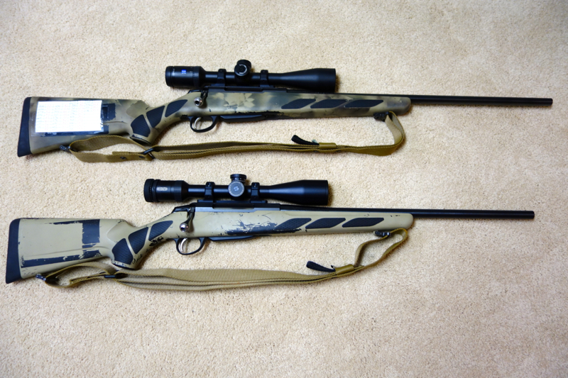 two Tikka T3X Lite rifles side by side with slings