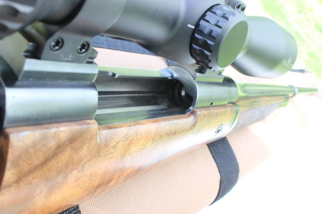 looking down the barrel of a single action rifle