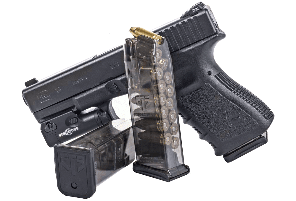 picture of a Glock 19 with two magazines