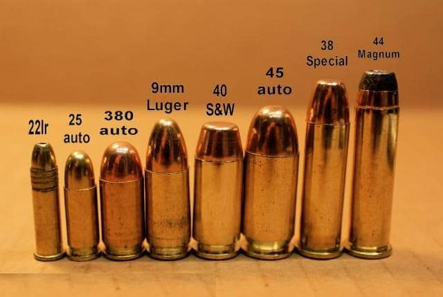 a picture of different rounds from 22lr to 44 magnum