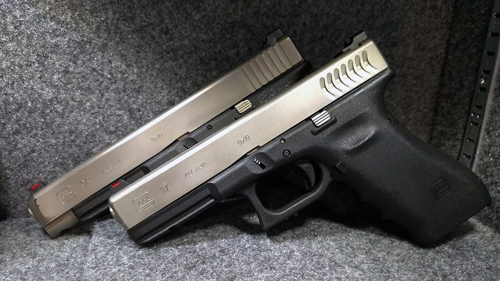 a picture of a glock 17 and a glock 34 with stainless slides