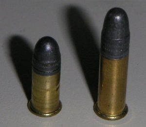 A picture of a .22 Short and a .22 Long cartridge