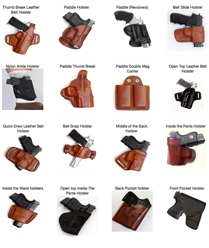 Different types of holsters