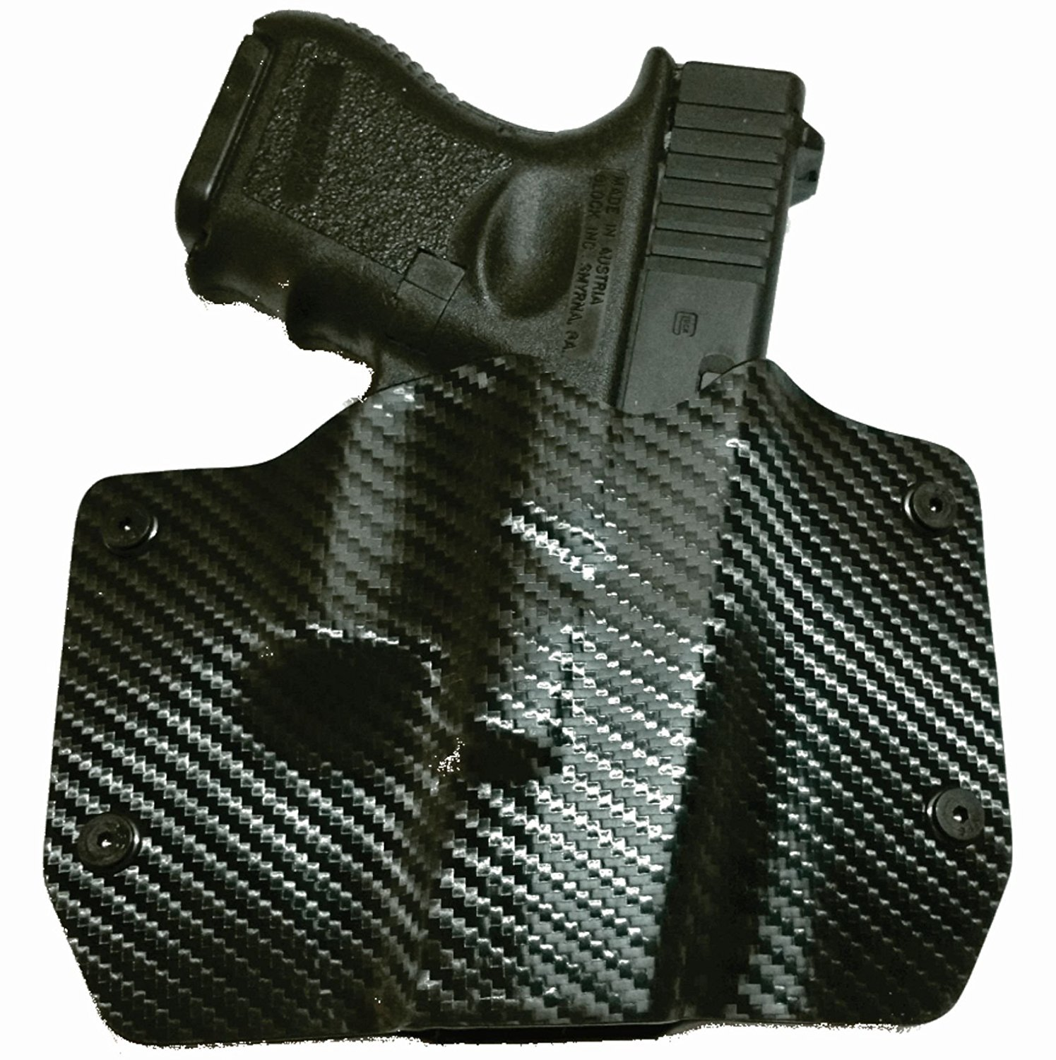 image of Black Carbon Fiber Kydex OWB holster with gun inside