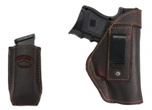 New Barsony Brown Leather IWB Holster Magazine Pouch