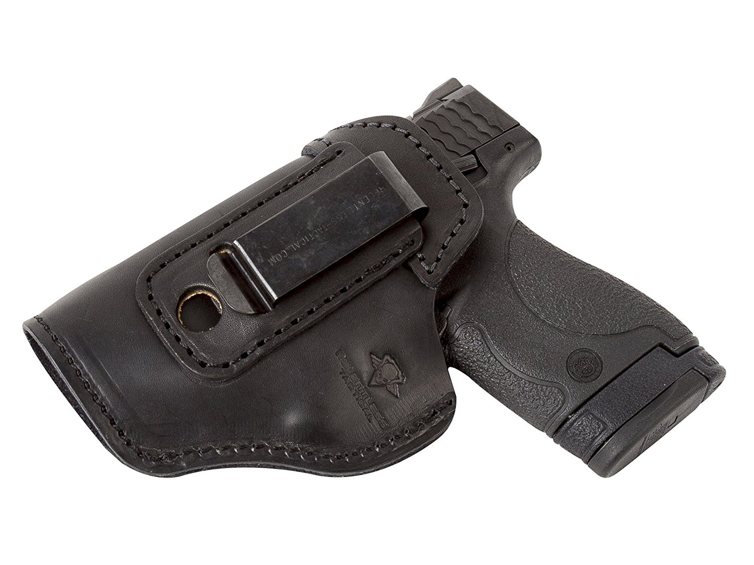 image of The Defender Leather IWB Holster by Relentless Tactical with gun inside