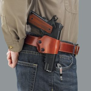 brown leather belt holster