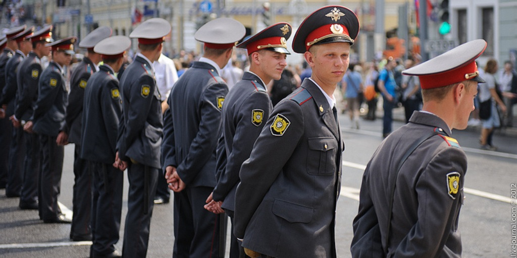 image of russian policemen guarding the street