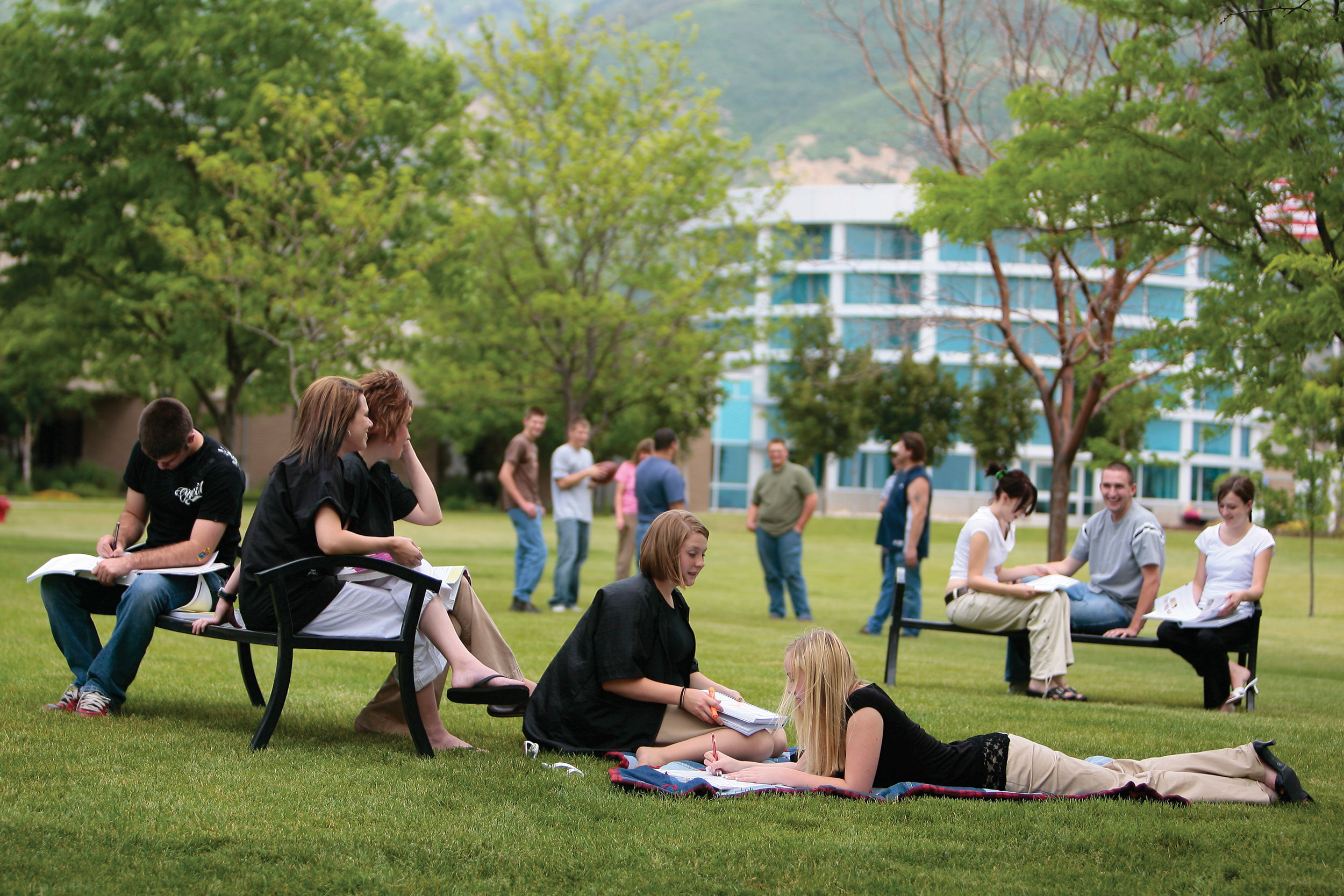 image of people outside the Campus