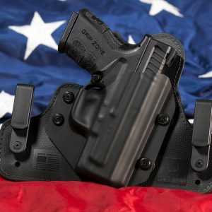 image of a Concealed Carry holster with usa flag background