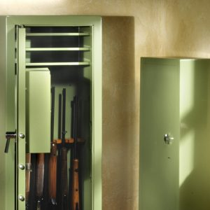 image of gun safe with rifles inside