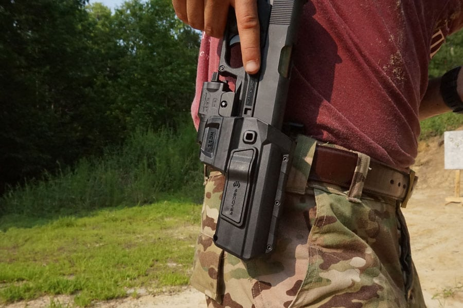 Image of a holster on a mans hip