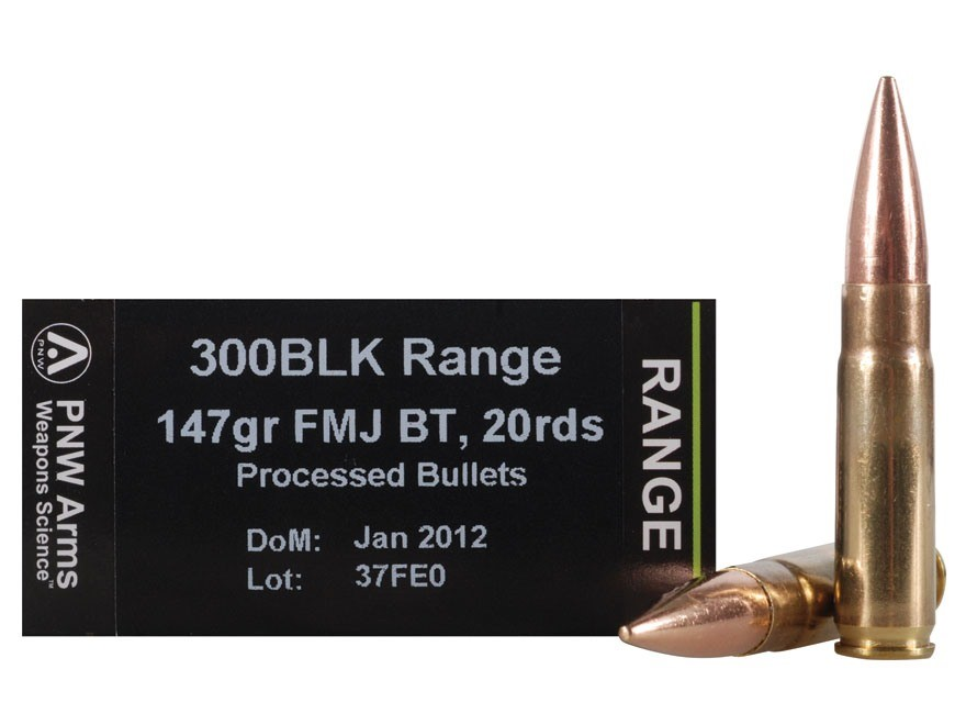 Image of a 300 BLK bullets and a box