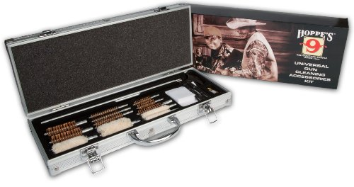 image of an open kit from Hoppes Universal Gun Cleaning Accessories in a silver case