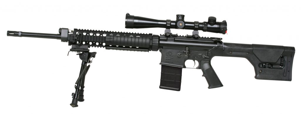 mounted ar10 semi automatic rifle all black