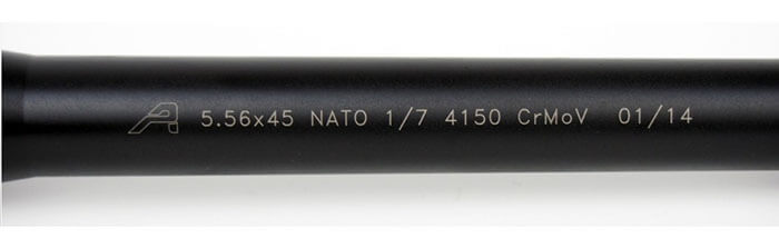 up close look at the barrel of an ar15 made of chrome moly material