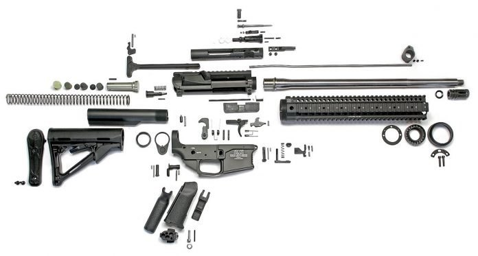 image of a fully disassembled ar 15 rifle with all the parts in 2017