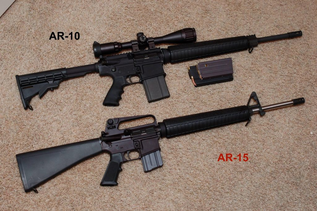 side by side comparison of the ar 10 and ar 15 rifles in 2017