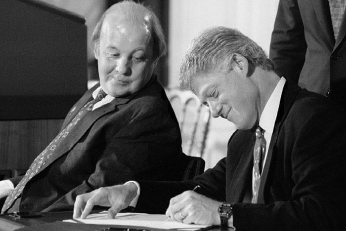 Former President Bill Clinton signs the Assault Weapons Ban in 1994.