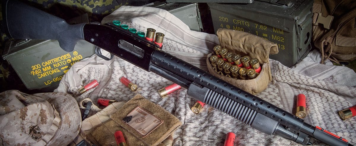 Image of a shotgun and ammo