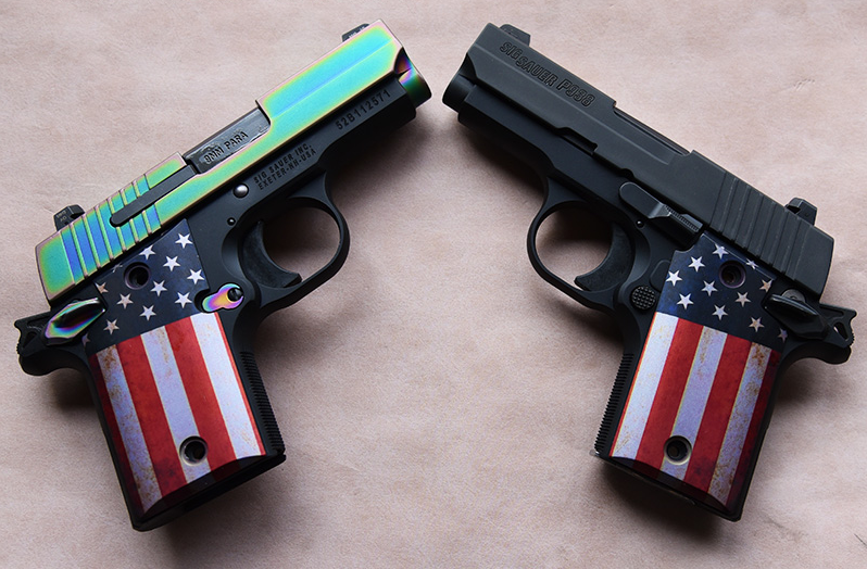 sig sauer p238 custom grips in american flags style