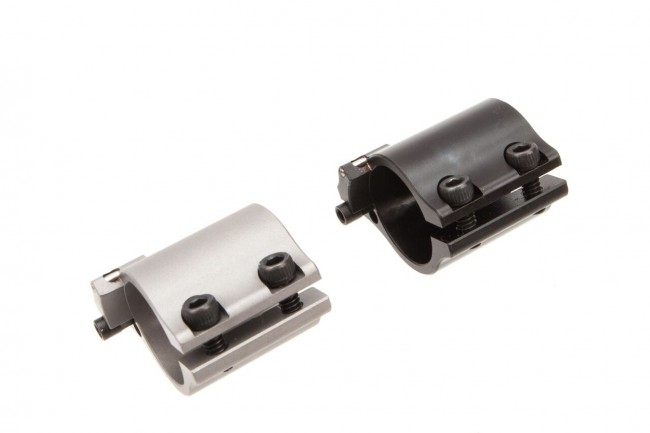 image of two superlative-arms-adjustable-gas-block-bleed-off-clamp-on-sabo-di-clamp-on-by-superlative-arms-c10 for the ar15, black and silver