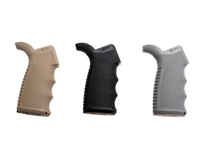 image of black, brown and white pistol grips