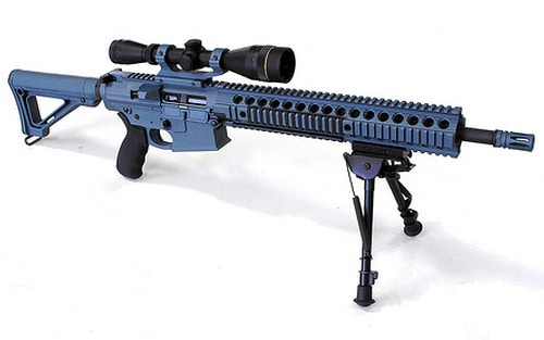 black AR bipod mounted on a long gun