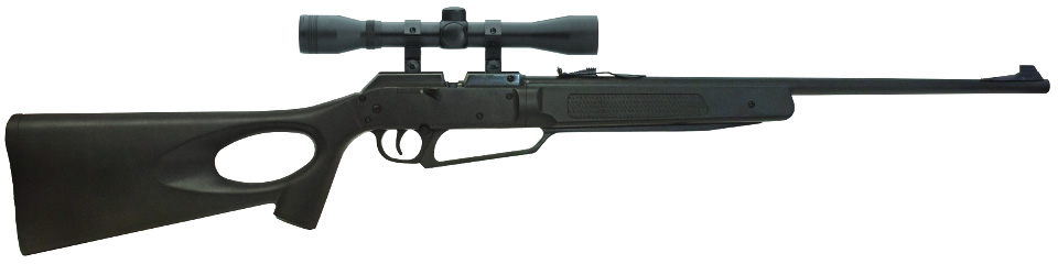 black pellet gun with a scope