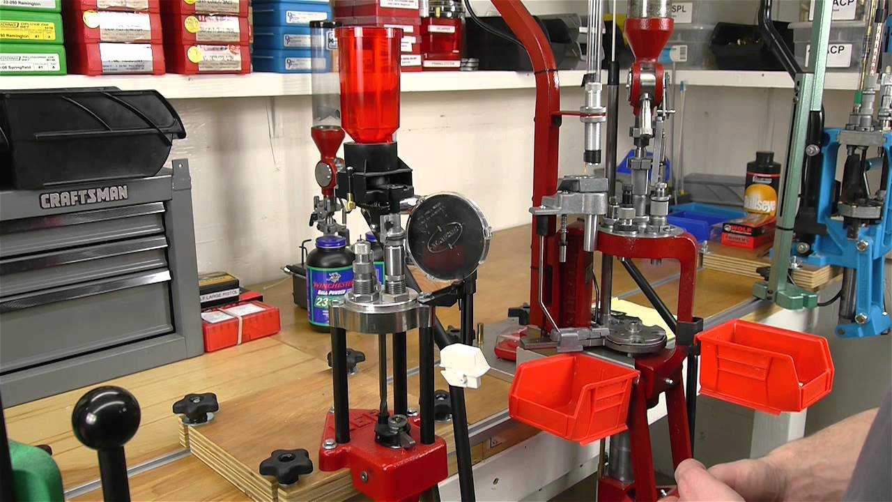 image showing a garage with a reloading press