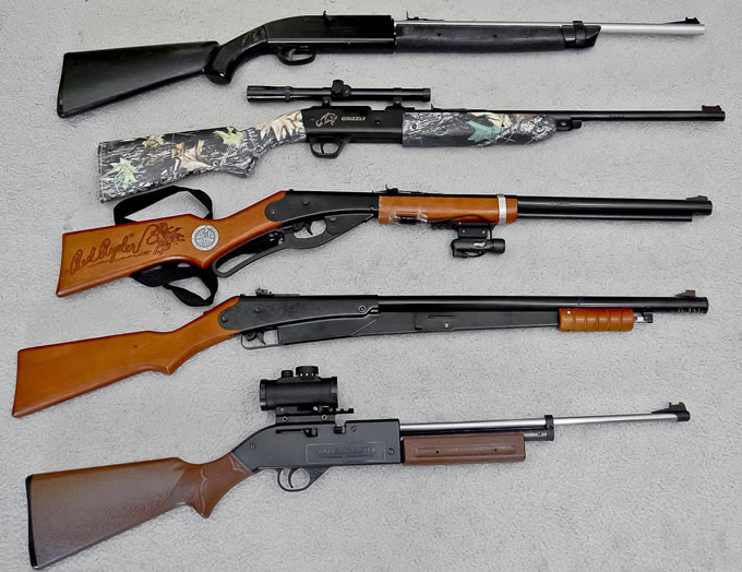 image showing the different kinds of air rifles