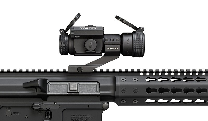 image of the vortex strike fire ii red dot scope mounted on an ar 10 rifle in 2017
