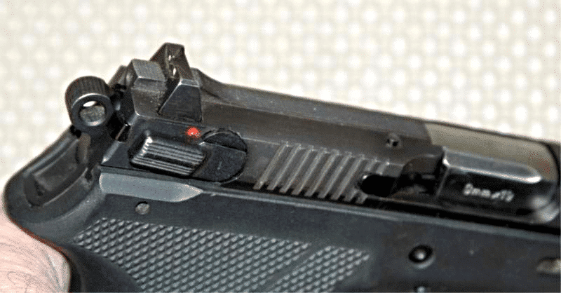 image of a 9mm pistol sight closeup