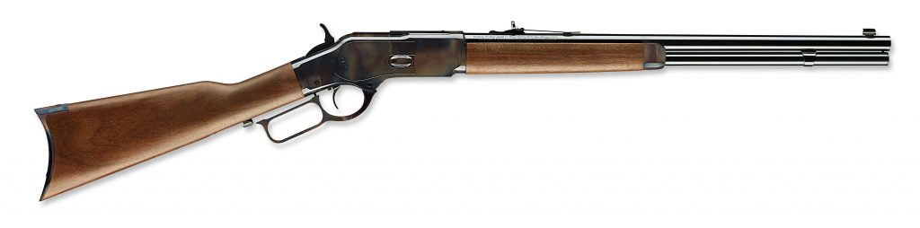 up close shot of the Winchester 1873 lever action rifle in 2017