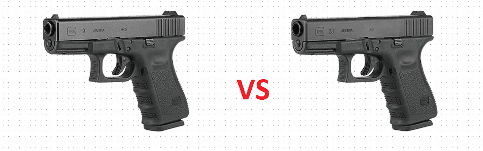 Picture of two guns with a vs in the middle