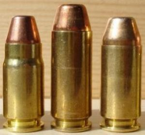 a picture of a .357 sig, a 10mm and a .40 sw