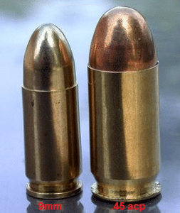picture of a 9mm bullet and a .45 acp bullet