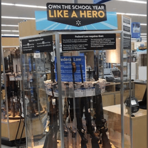 an image of a free speech signage with rifles below