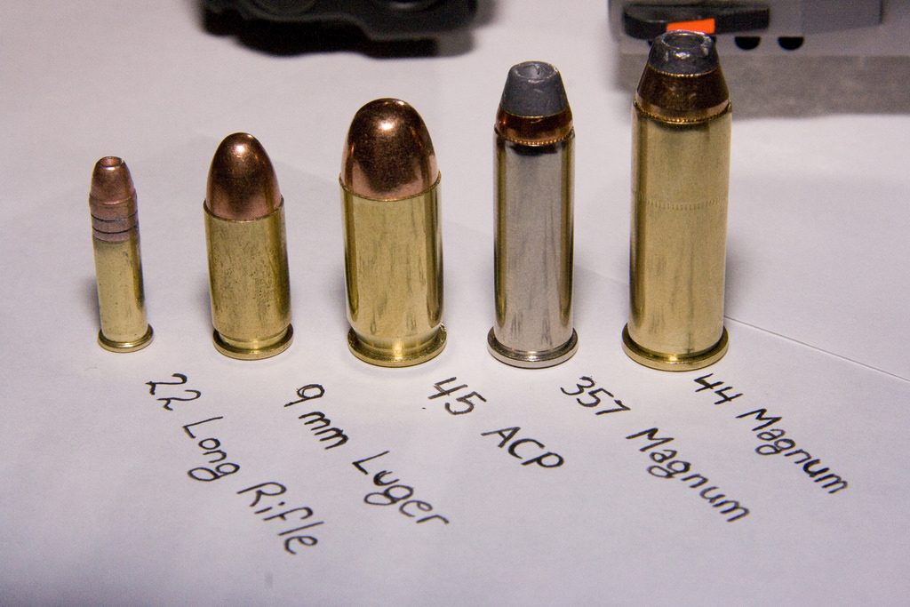 a picture of several different handgun calibers