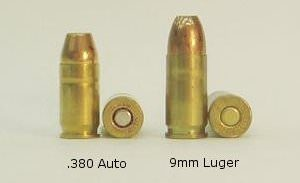 a picture of 380 acp and 9mm rounds