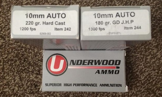 a picture of underwood hot 10mm ammo boxes