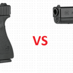 a picture of glock 20 and glock 21 with VS in between them