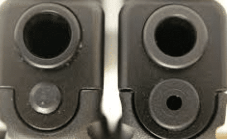a picture of glock gen 3 and gen 4 muzzle