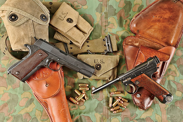 a picture of a 1911 and a type 14 nambu