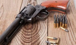 image of 22 lr single action revolver with ammo