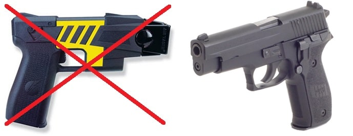 a picture of a taser and a SIG handgun