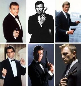 a collage of several james bond actors holding their walther ppk