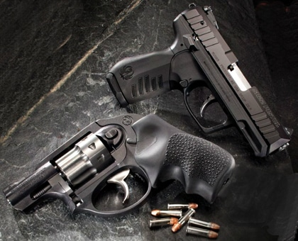 image of polymer semi-auto and revolver