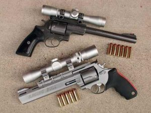 image of a super redhawk and raging bull with ammo